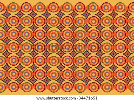 Vector pattern including ethnic African motive with multicolored typical elements