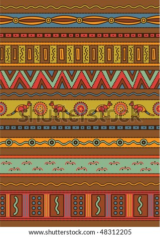 stock vector : Vector pattern including ethnic Australian motive with multicolored typical elements