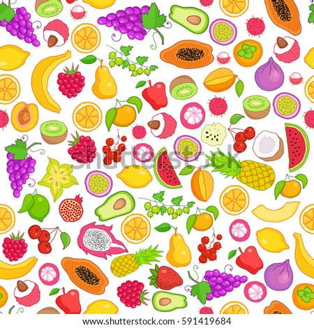 Vector pattern of colored hand drawn fruit and berries icons. Doodle set of different cut fruits and berries. Healthy food. Exotic fruits. Collection of fruits and berries