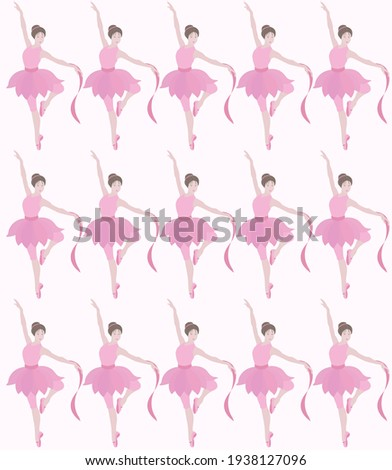 Vector pattern of dancing ballerinas.Prima in tutu skirt, classical ballet costumes and pointe shoes.Graceful pretty young girl.Cute cartoon style vector isolated, white background.Various poses Stockfoto ©
