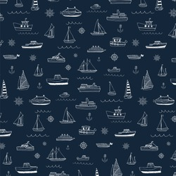 Vector pattern of doodle sailboats.