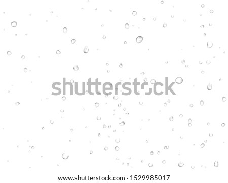 Vector pattern of rain clean water drops on white background. Pure realistic droplets condensed. Macro view