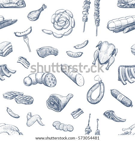 Vector pattern of sketches of meat products and delicacies on a white background