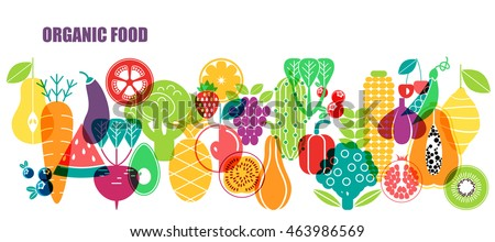 Vector pattern of vegetables. Organic fruits and vegetables template.  #463986569