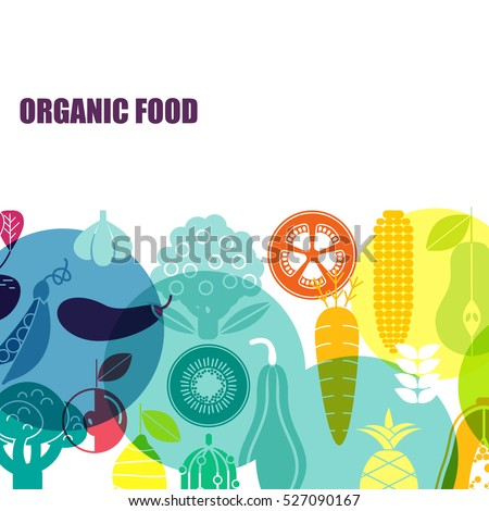 Vector pattern of vegetables. Organic fruits and vegetables template