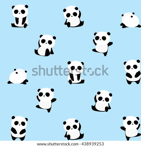 Vector Pattern: Panda bear pattern on light blue background, panda with different gestures