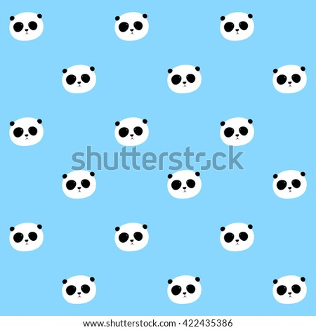Vector Pattern: Panda seamless pattern on light blue background