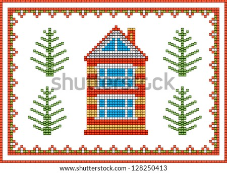 Vector pattern rural home can be used as a pattern for embroidery on clothes