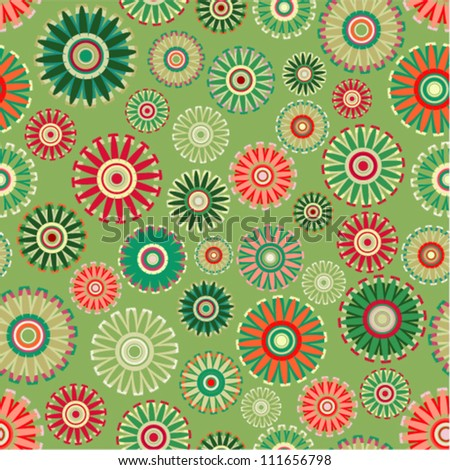 Vector pattern - vintage flower seamless (green floral background)