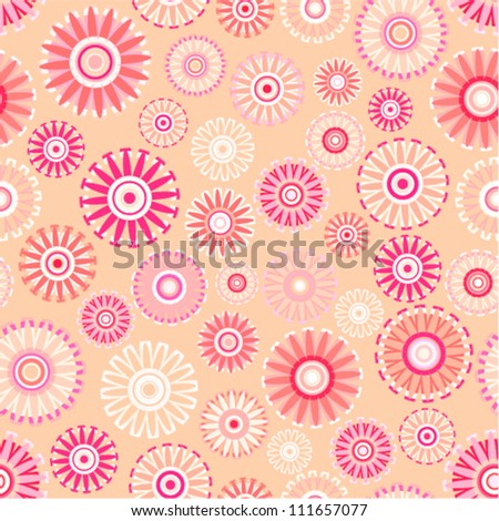 Vector pattern - vintage flower seamless (pink floral background)