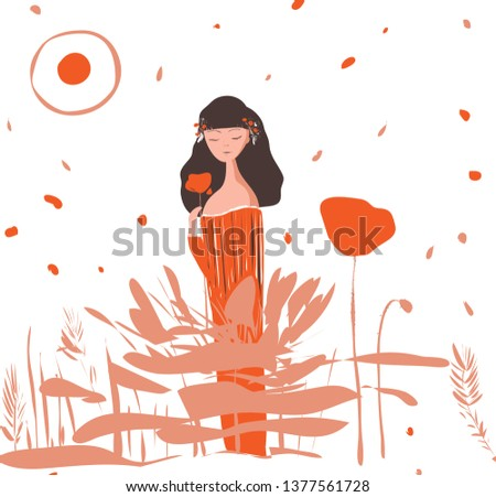 vector pattern with a girl  red
