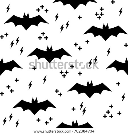 Vector pattern with bats. Seamless halloween background