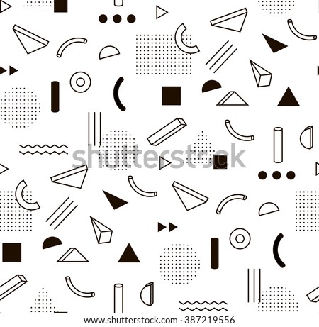 Vector pattern with black and white geometric shapes. Hipster fashion Memphis style.