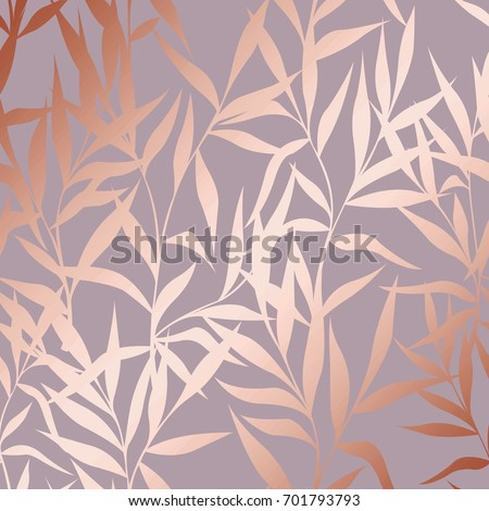 Stock Photo Vector pattern with branches with imitation surface of pink gold. Decorative background for design of cards, invitations, cases, packaging, covers and much more