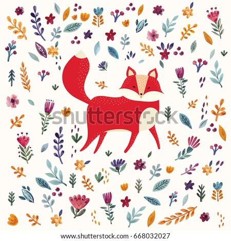 Vector pattern with cute fox and floral elements