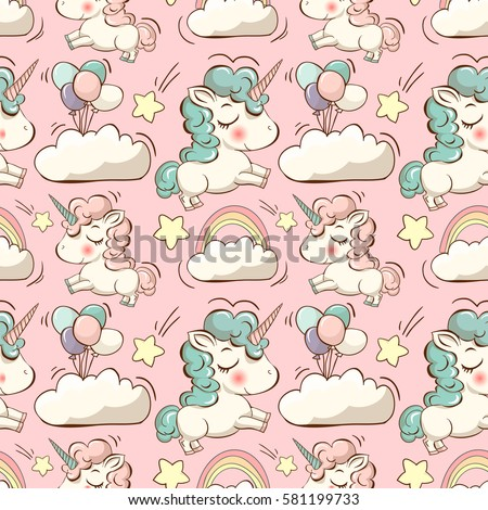 Vector pattern with cute unicorns, clouds,rainbow and stars. Magic background with little unicorns.