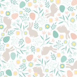 Vector pattern with Easter symbols and folk flowers. For Easter and other users. Design element.