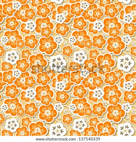 Vector - pattern with flowers (seamless)