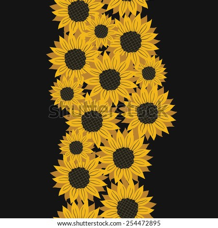 vector pattern with flowers sunflower