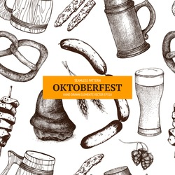 Vector pattern with German traditional food in retro style for Oktoberfest. Vintage pattern with ink hand drawn food illustration isolated on white.