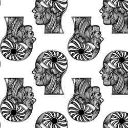 Vector pattern with hand drawn  illustration of human head of muscles with space and planet. Creative hand sketched artwork . Template for card, poster, banner, print for t-shirt, pin, badge, patch.