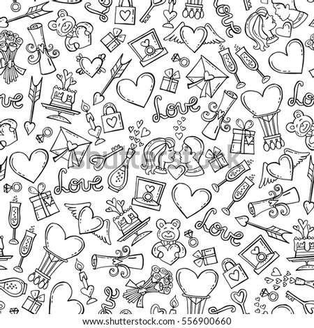 Vector pattern with hand drawn isolated symbols of Valentine's Day on white color. Seamless pattern on the theme of love, feelings, relationships, wedding. Background for use in design