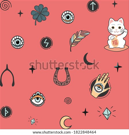 Vector pattern with lucky charms icons symbols isolated on pink background.Good luck.Talismans.Clover,runes, spiral curls,hand with all-seeing eye,feathers,stars,moon,cat,crystals.Paper design.T shirt
