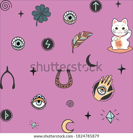 Vector pattern with lucky charms icons symbols isolated on violet pink lilac background.Good luck.Talismans.Clover,runes,spiral curls,hand with all-seeing  eye,feathers,stars,moon,cat,crystals.Paper