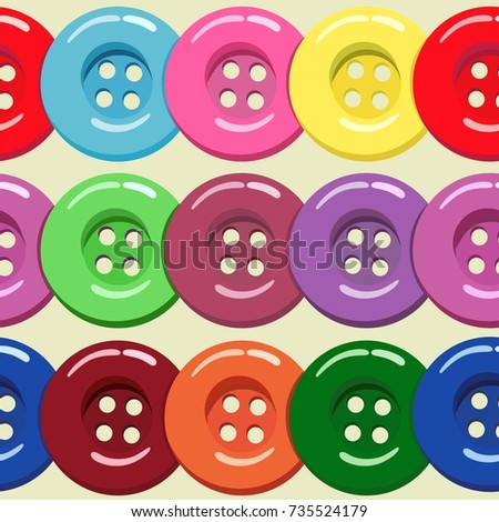 Vector pattern with painted buttons of different colors on a light background. Suitable as a background for wallpaper, wrapping paper, textiles and handmade decor. #735524179