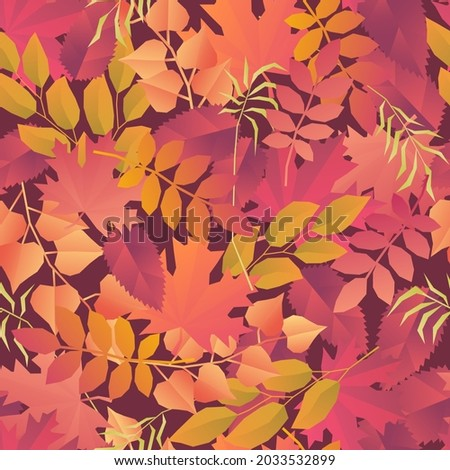 Vector pattern with red orange and yellow autumn leaves and dry grass on vinous background. Fall seamless design for print and web. Foto d'archivio ©