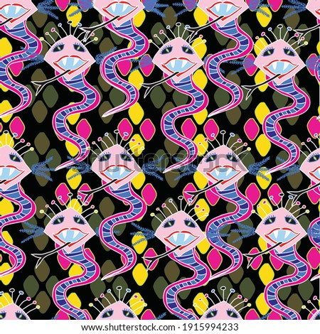 vector pattern with snake or