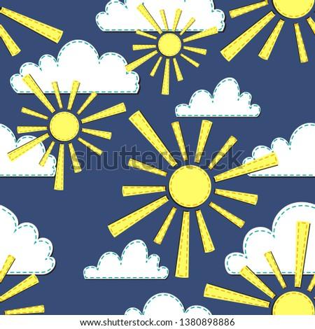 vector pattern with sun  rain