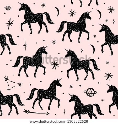 Vector pattern with unicorns, moon and stars, space constellations. Beautiful wall texture with wild repeated contour animals. Ornament, cloth print. Fairytale fantasy illustration
