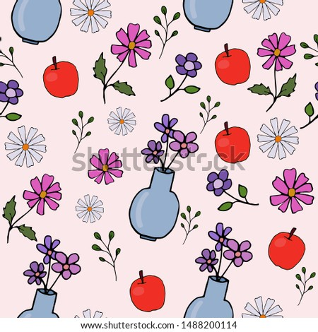 vector pattern with vase  apple