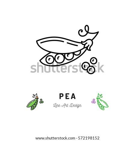 Vector Pea icon Vegetables logo, Peas in a pod. Thin line art design, outline illustration