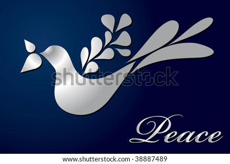 Vector peace dove greeting card layout