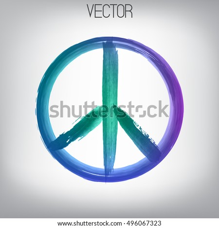 Vector peace sign painted by brush. Hand drawn bright watercolor symbol. Textured element. Ink.  Cyan, violet, blue, turquoise, purple colors gradient.