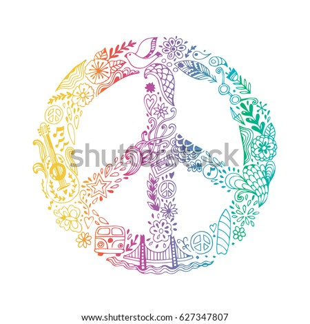 Vector peace symbol made of hippie theme doodle handdrawn icons, pacifism sign. Hippie style ornamental background. Love and peace, hand-drawn doodle background. Colorful peace symbol