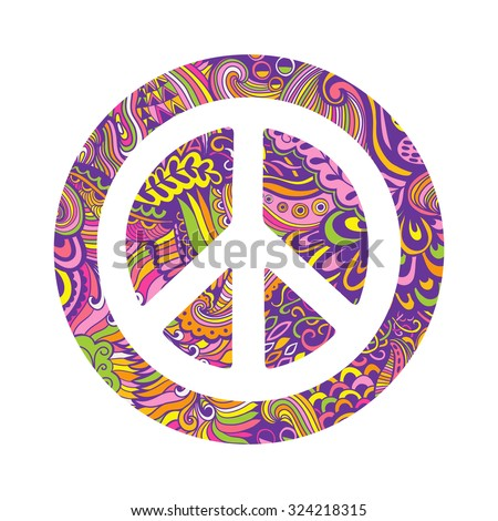 Vector peace symbol made of zentangles, pacifism sign. Hippie style ornamental background. Love and peace, hand-drawn doodle background. Colorful peace symbol on white background. Retro 1960s, 70s