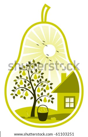 vector pear tree and cottage in pear on white background