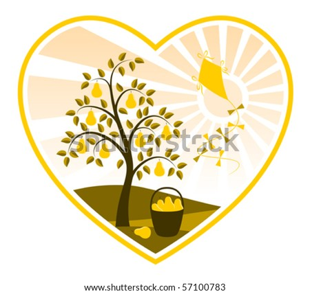vector pear tree, basket of pears and kite in heart on white background