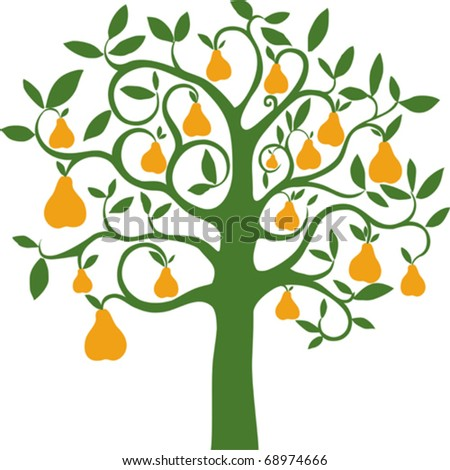vector pear tree on white background
