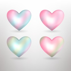 Vector pearl  pastel hearts icons set. Pink hearts Vector 3D illustration.Vector collection of pearl pastel hearts on white background.Romantic hearts set for valentine.Heart Symbol of love.