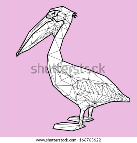 Vector - pelican geometric (illustration of a many triangles)
