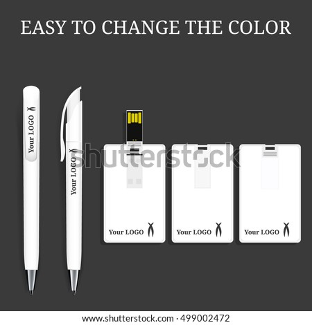 Vector Pen and USB flash Card , Flash drive mock-up with place for your logo. Pencil, Marker. Corporate Identity, Mock Up Template Ready For Your Design. White pen and white usb flash card.