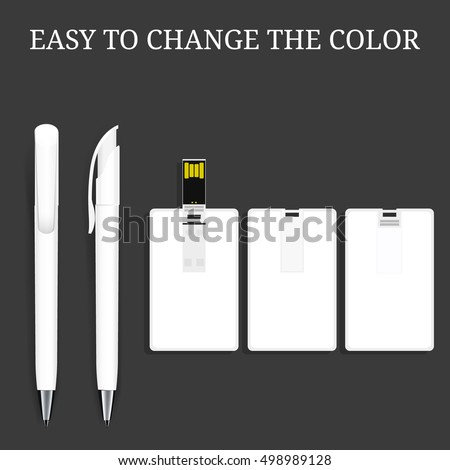 Vector Pen and USB flash Card , Pencil, Marker. Corporate Identity, Promotional gift, Black Background. Mock Up Template Ready For Your Design. White pen and white usb flash card.