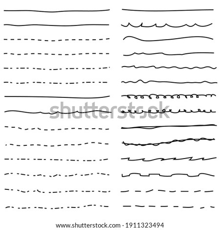 vector pen line decoration set for art design. thin underline pen line drawing isolated on white background