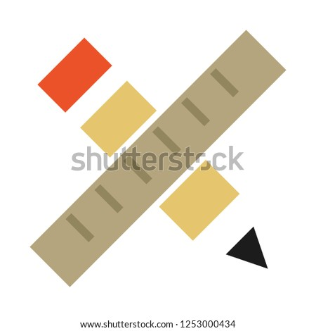 vector pen ruler flat icon. school and education icon