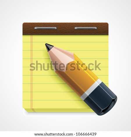 Vector pencil and yellow notepad icon