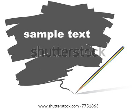 Vector - Pencil with scribbles on a blank piece of paper. Text can be entered on gray area. - stock vector